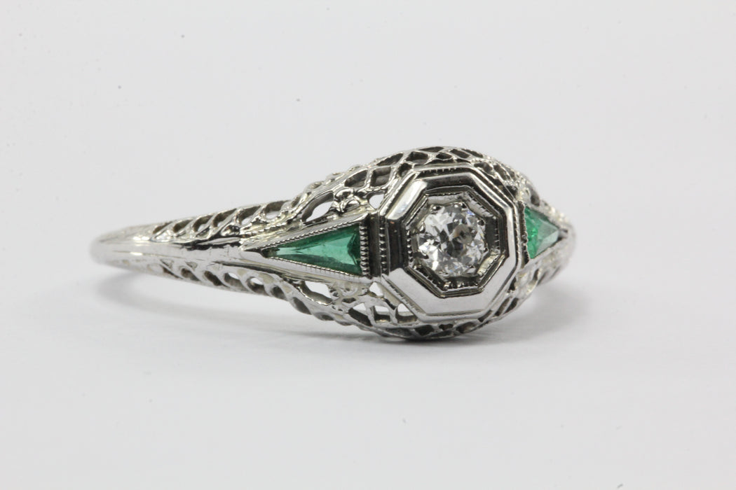 Antique Art Deco 18K White Gold Old European Cut Diamond Emerald Engagement Ring - Queen May