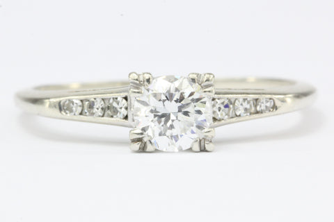 Vintage Mid Century 14K White Gold .60 CTW Diamond Engagement Ring c.1950's