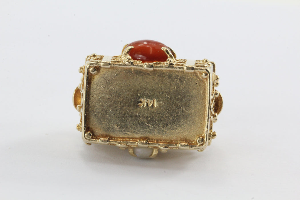 Vintage 14K Gold Gem Stone Studded Etruscan Treasure Chest Pendant Charm