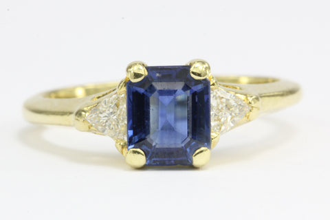 18K Gold 1 Carat Emerald Cut Blue Sapphire & Diamond Engagement Ring