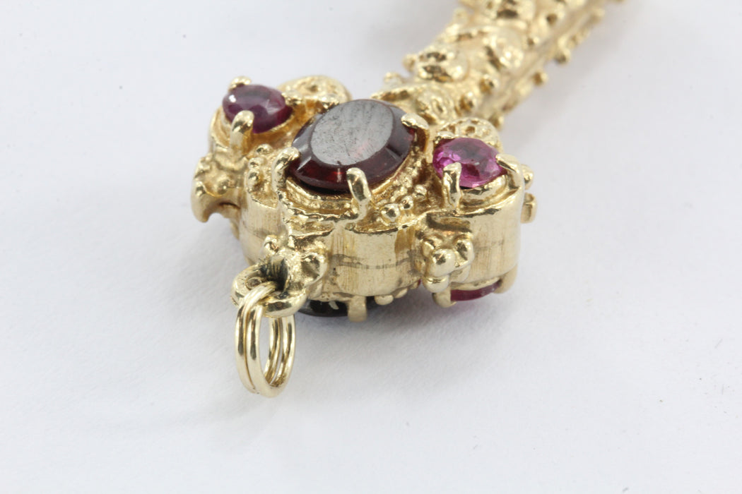 Vintage Chunky 14K Gold Garnet & Ruby Etruscan Key Pendant / Charm - Queen May