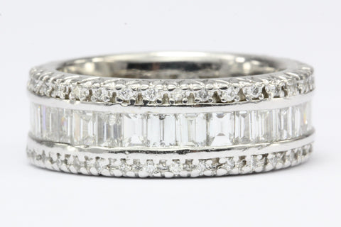 Vintage 3 Carat Total Weight 18K White Gold Diamond Eternity Band