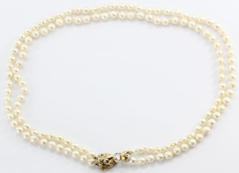 Antique 14K Gold Diamond & Ruby Lion Head Double Strand Pearl Necklace