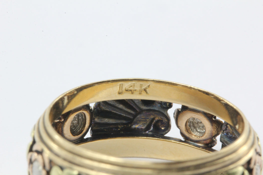 Retro 14K Multi-tone Tricolor Gold Ring Band c.1940s - Queen May