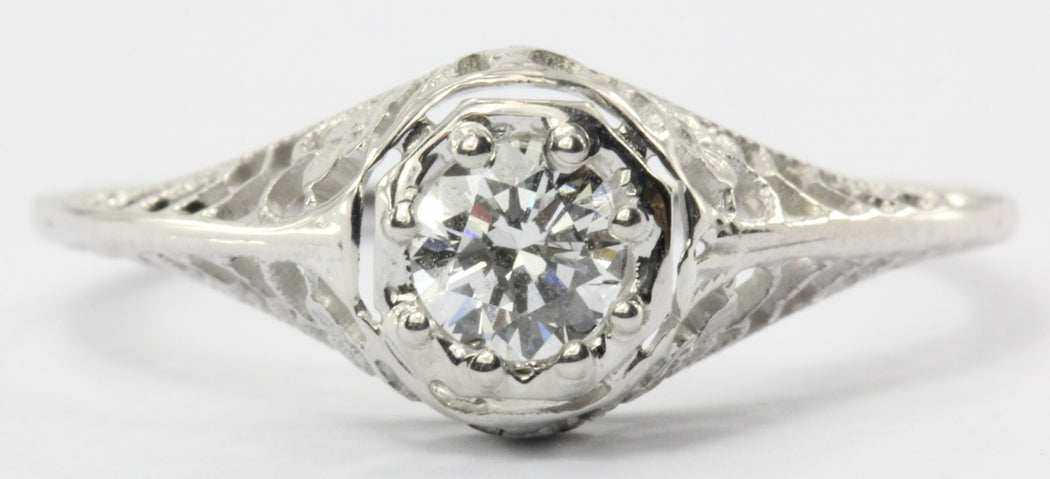 Antique 18K White Gold Art Deco Floral 1/4 Carat Diamond Engagement Ring - Queen May
