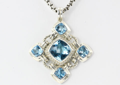 David Yurman Sterling Silver Blue Topaz Diamond Renaissance Pendant Necklace