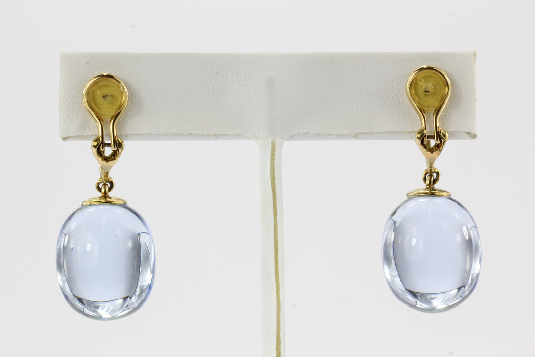 18K Gold Baccarat Tentation Aquamarine Crystal Drop Clip-On Earrings - Queen May