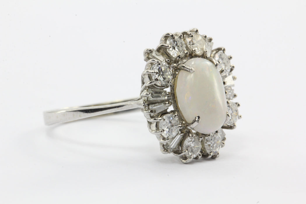 Vintage Art Deco 18K White Gold Opal & Diamond Ring - Queen May