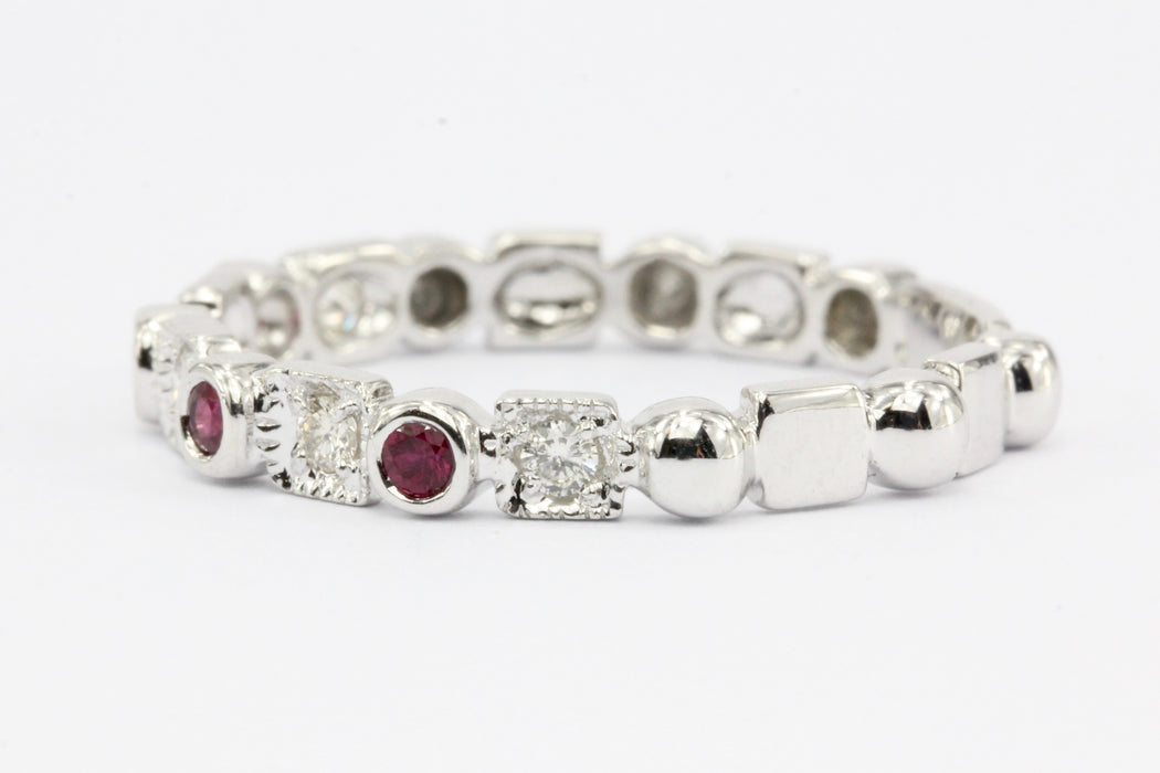 14K White Gold Diamond & Ruby Half Eternity Band Ring - Queen May