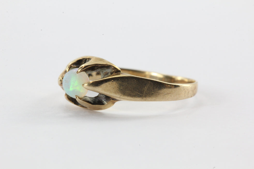Antique 10K Gold Belcher Mounted Opal Ring - Queen May