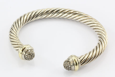 David Yurman Sterling Silver 18K Gold Diamond Cable Classics Cuff Bracelet