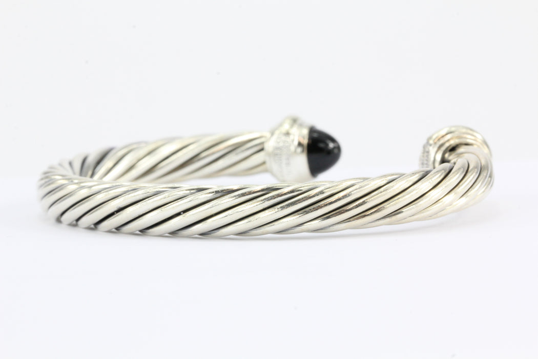 David Yurman Sterling Silver & 14K Onyx Cable Classics Cuff Bracelet - Queen May