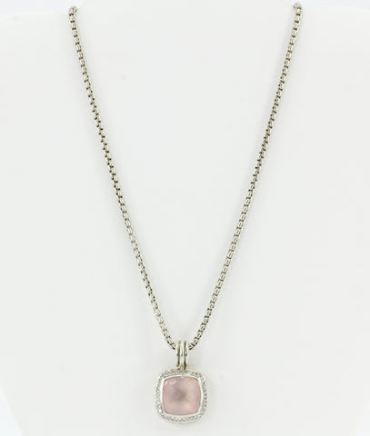 David Yurman Sterling Silver Rose Quartz Diamond Albion Enhancer & Chain
