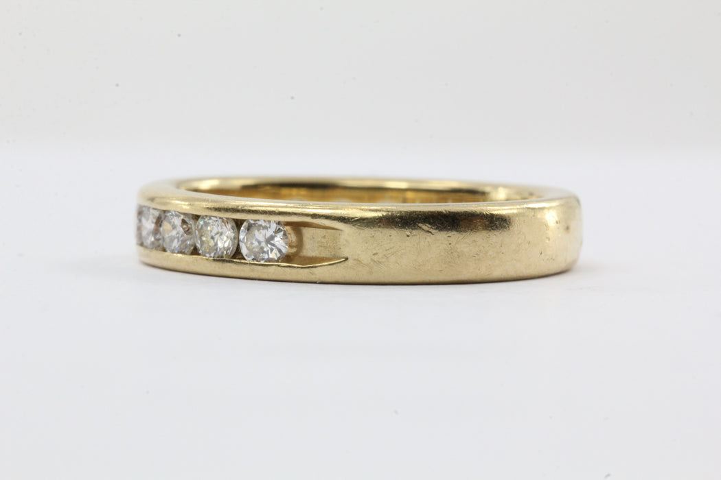14K Gold .75 CTW Diamond Half Eternity Band Ring Size 6.5