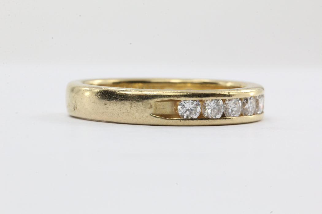 14K Gold .75 CTW Diamond Half Eternity Band Ring Size 6.5 - Queen May