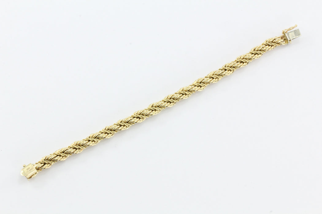 "Vintage Tiffany & Co 14K Gold Thick Rope Bracelet 7.5"" - Queen May"