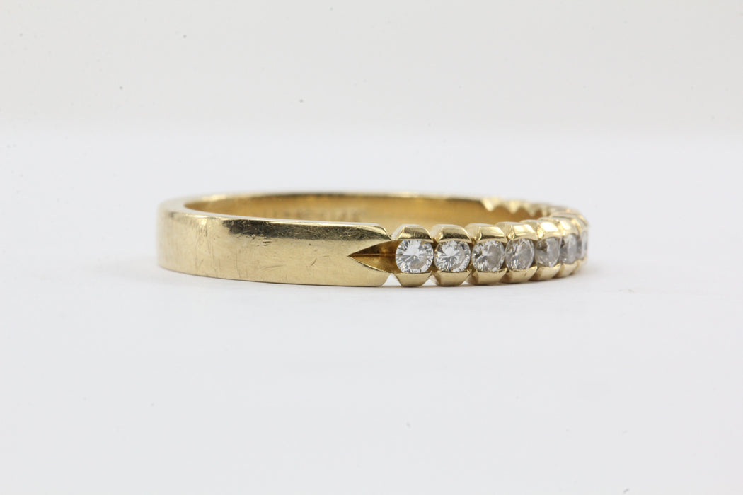 Vintage 14K Gold Diamond Half Eternity Band Ring Size 6 - Queen May