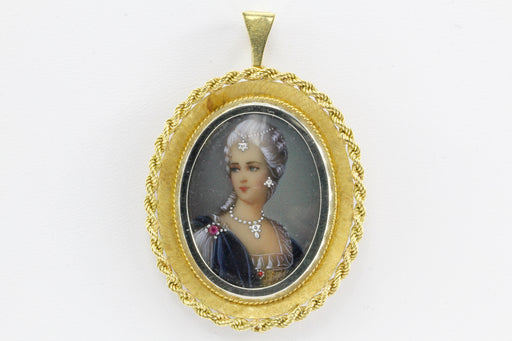 18K Gold Georgian Revival Diamond Habille Portrait of Lady Pendant / Brooch - Queen May