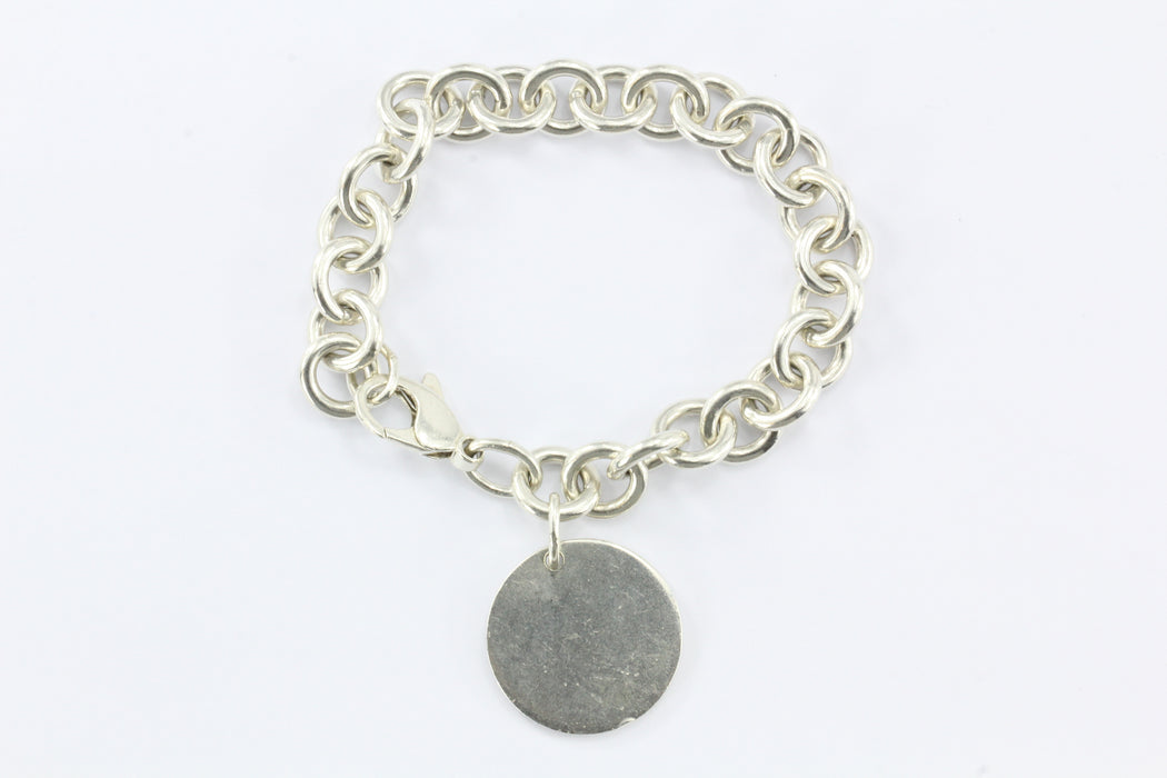 5291d442c ... Tiffany & Co Sterling Silver Return to Tiffany Round Circle Tag  Bracelet - Queen ...
