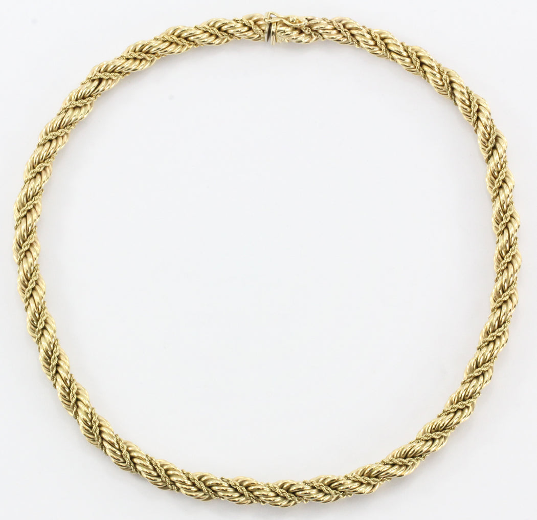 "Tiffany & Co 14K Yellow Gold Thick Rope Necklace 16.5"" - Queen May"