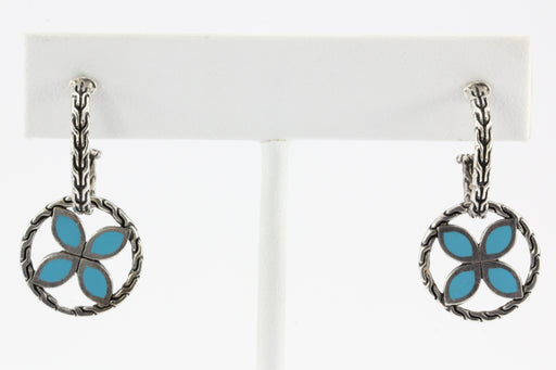 John Hardy Sterling Silver Blue Enamel Kawung Earrings