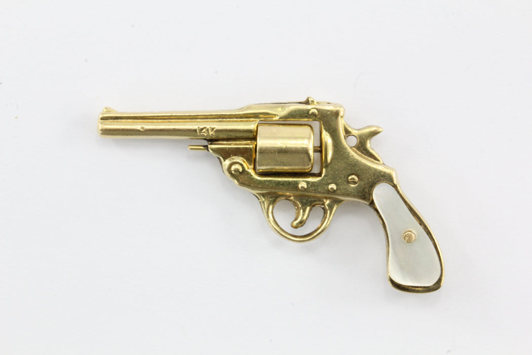 Vintage 14K Gold & Mother of Pearl Colt Revolver Gun Charm Pendant - Queen May