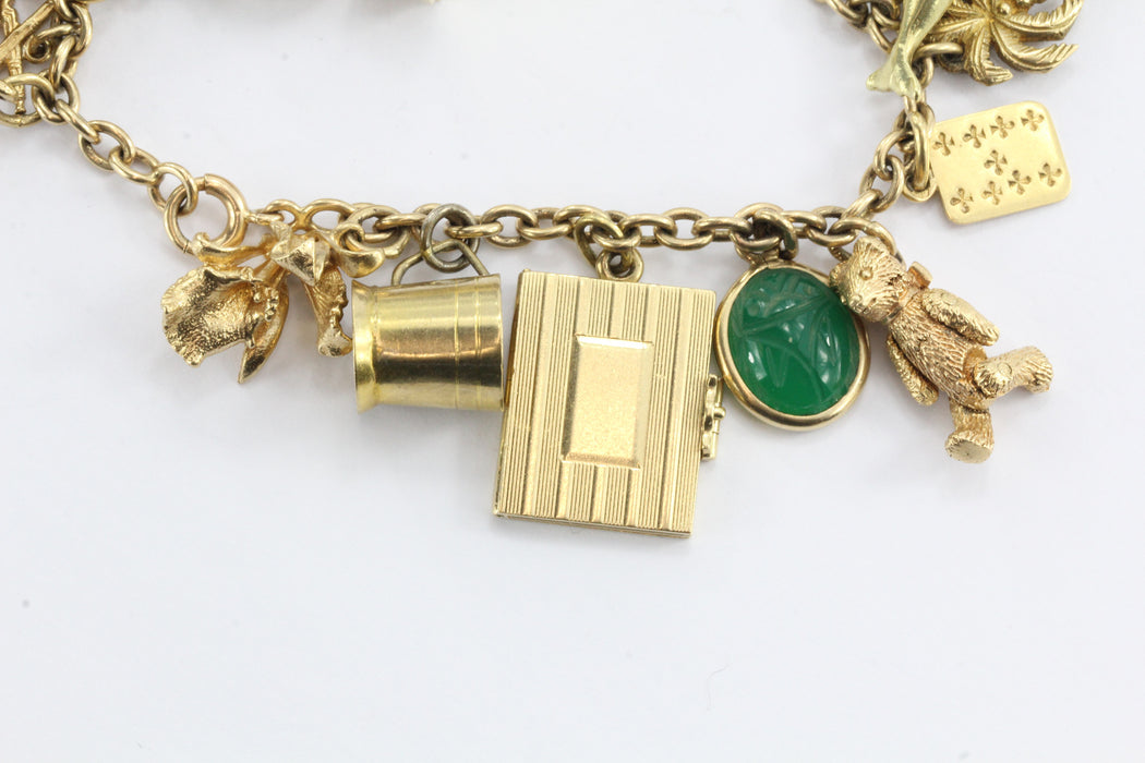 Antique 1940's 14k Gold Loaded 26 Charm Bracelet w Cartier & Tiffany Co Charm - Queen May