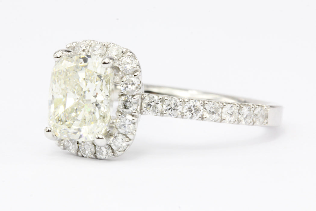 14K White Gold 2.02 Carat Cushion Cut Diamond Halo Engagement Ring
