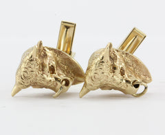Antique Signed Schira Bros 14K Gold Bull Market Cuff Links