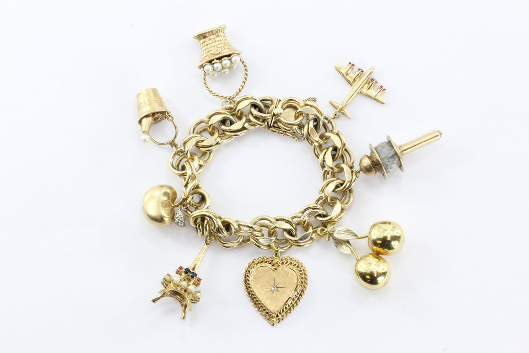 Wonderful 1940's 8 Charms Eiffel Tower Champagne Bucket Gold Charm Bracelet - Queen May