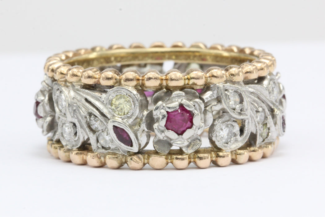 Retro Platinum & 14k Rose Gold Yellow & White Diamond Ruby Cigar Band C. 1940's - Queen May