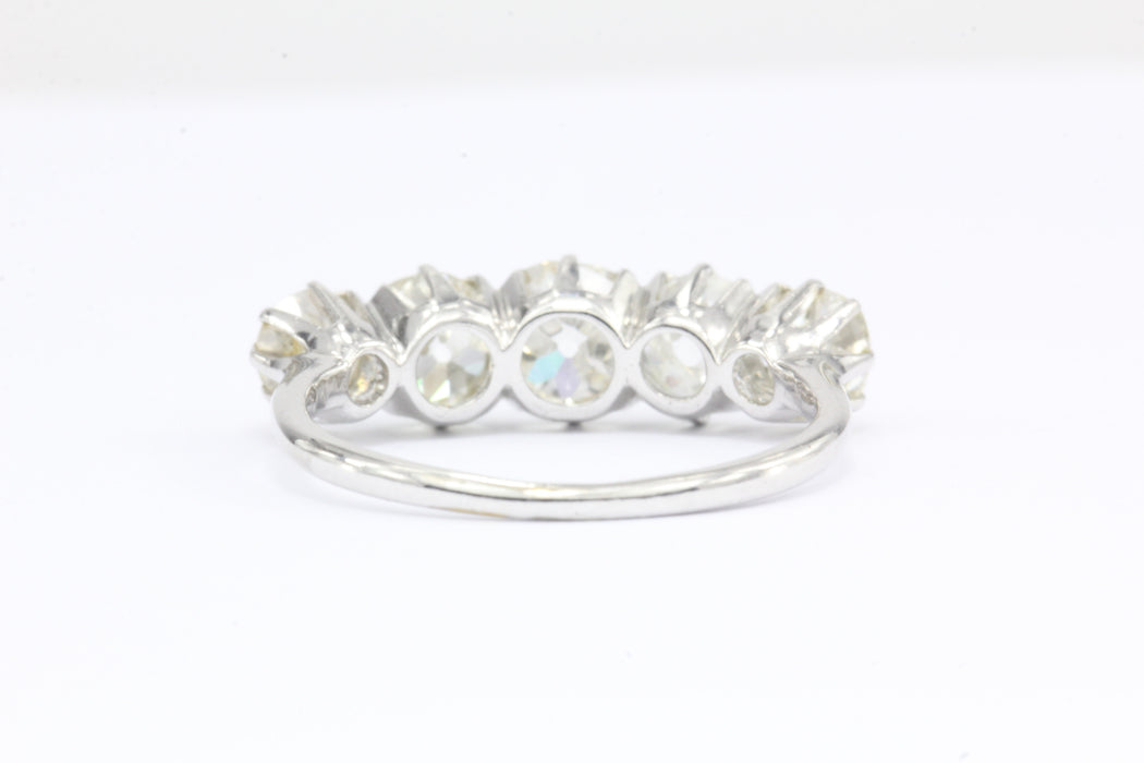Edwardian Platinum 5 Stone Diamond Anniversary Wedding Band - Queen May