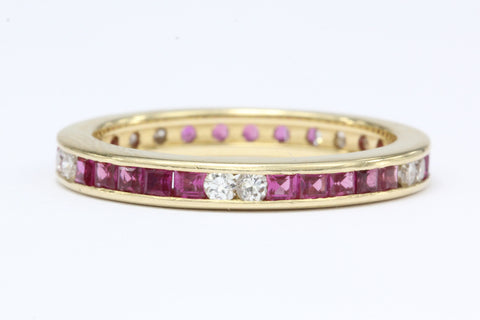 Retro 14k Yellow Gold 1 Carat Diamond and Ruby Eternity Band