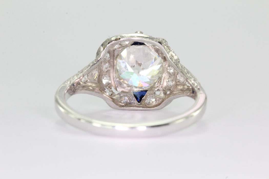 Antique Art Deco 3 Carat Total Weight Platinum Old European Diamond Sapphire Engagement Ring