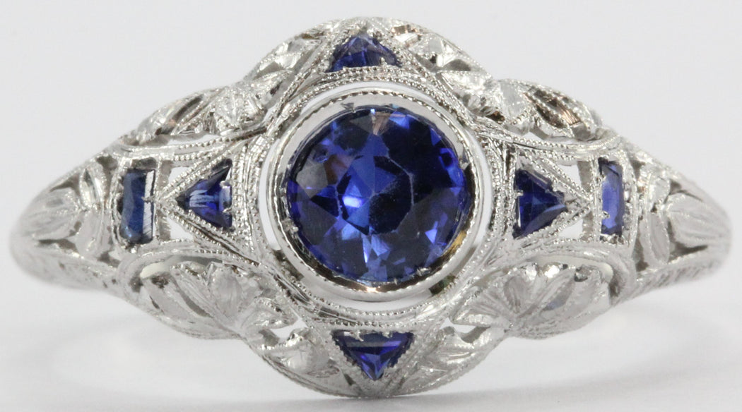 Antique Art Deco Platinum Sapphire Ring - Queen May