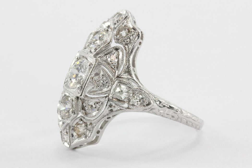 Antique Art Deco Platinum Old European Cut Diamond Ring - Queen May