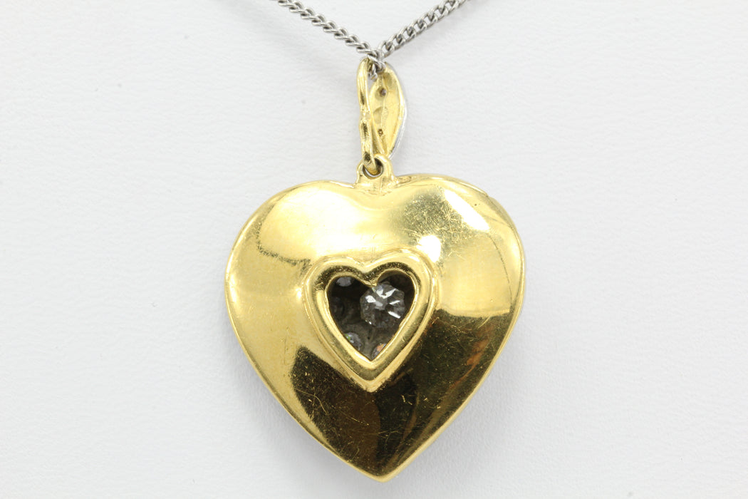 Edwardian 18K Gold and Platinum Top Old European Cut Diamond Heart Pendant 24mm - Queen May