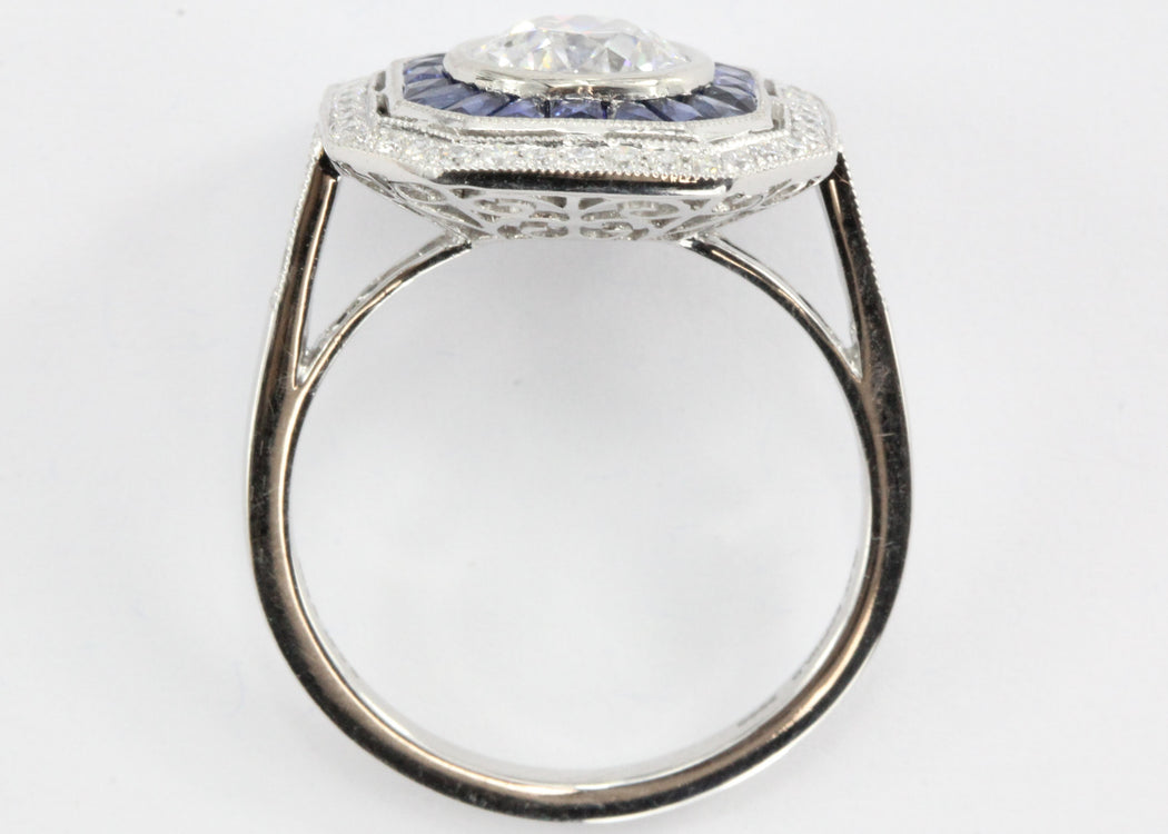 Art Deco Style Platinum Old European Diamond & Sapphire Ring - Queen May