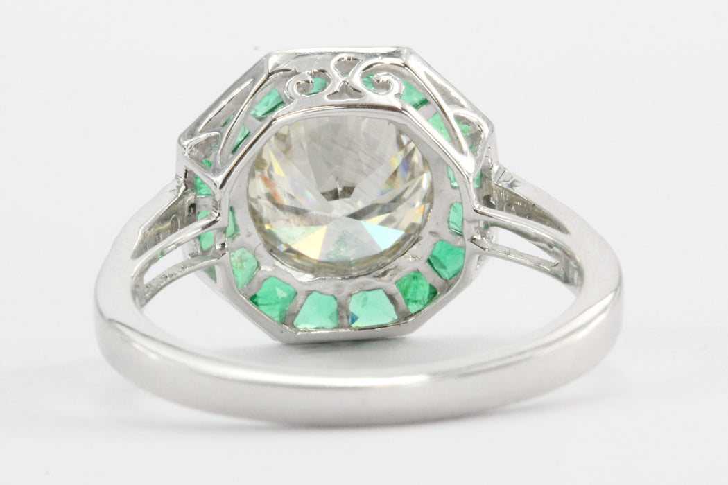 2.1 Carat Diamond Emerald Platinum Engagement Ring - Queen May