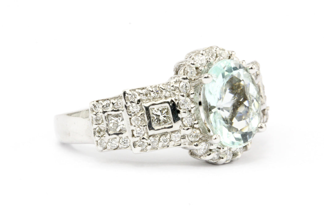 18K White Gold 2 Carat Aquamarine & Diamond Ring - Queen May