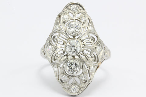 Art Deco Platinum Filigree Old European Diamond Shield Ring
