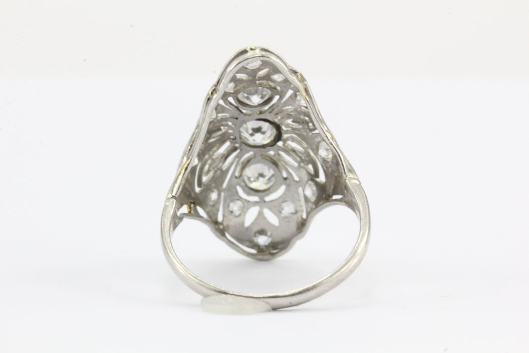 Art Deco Platinum Filigree Old European Diamond Shield Ring - Queen May