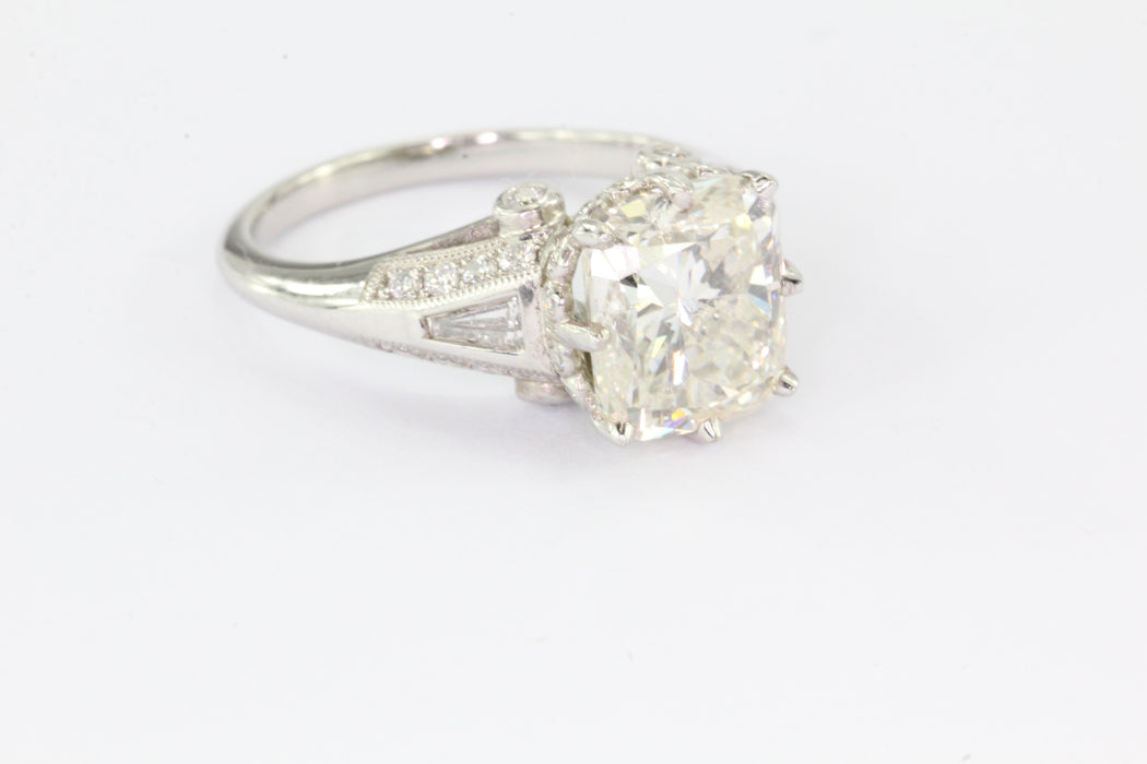 A 4 Carat Cushion Cut Platinum & Diamond Ring IGI Cert Size 6.5