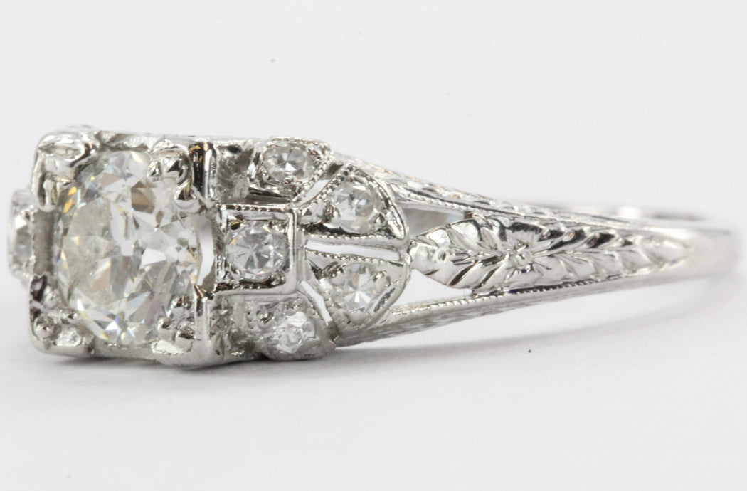 Antique Art Deco Platinum Old European Cut Diamond Engagement Ring - Queen May