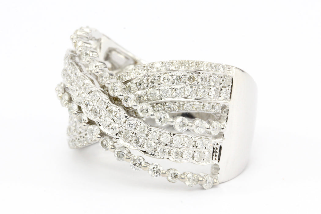 14K White Gold Multi-Row Overlapping Diamond Ring Band - Queen May