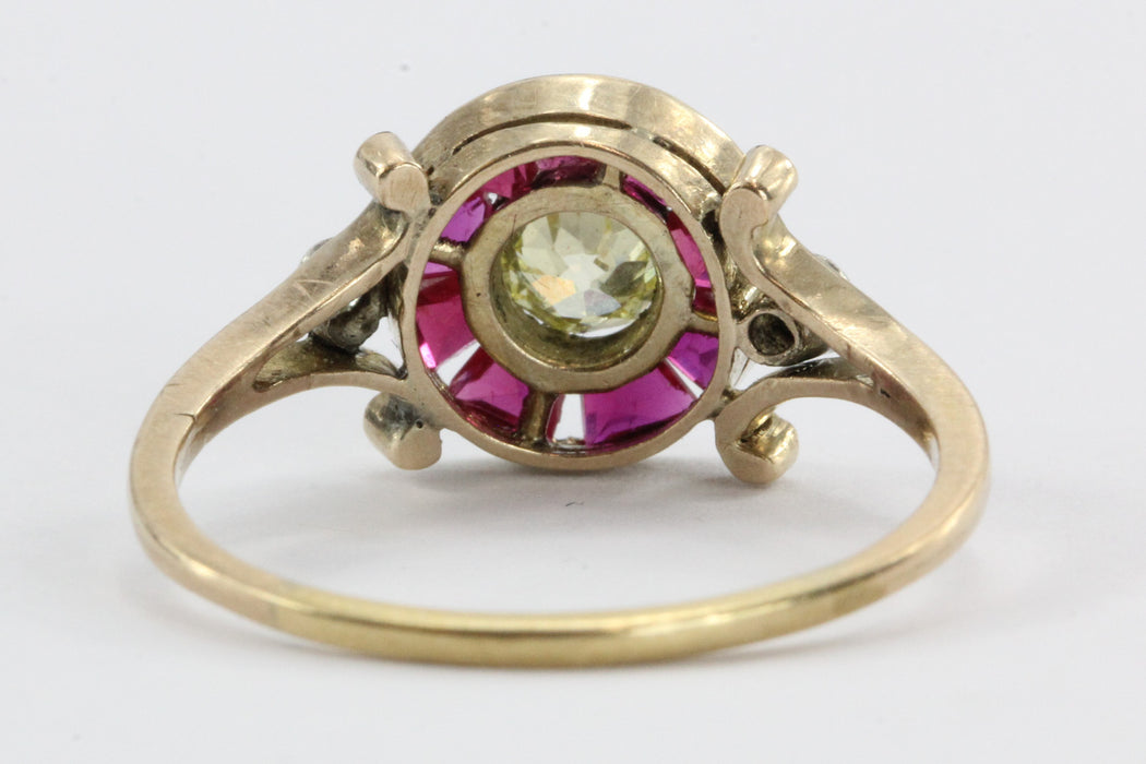 Victorian Fancy Yellow Old Mine / Rose Cut Diamond Ruby 18K Gold Silver Ring - Queen May