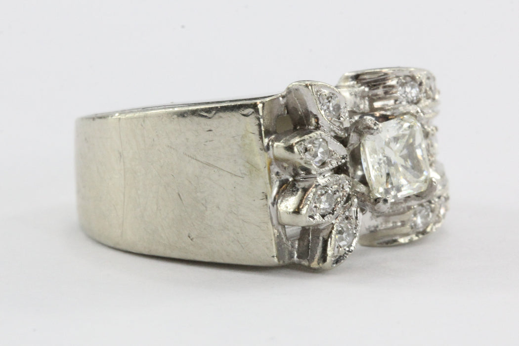 Antique 14K White Gold & Fancy Yellow Radiant Cut Diamond Art Deco Ring - Queen May