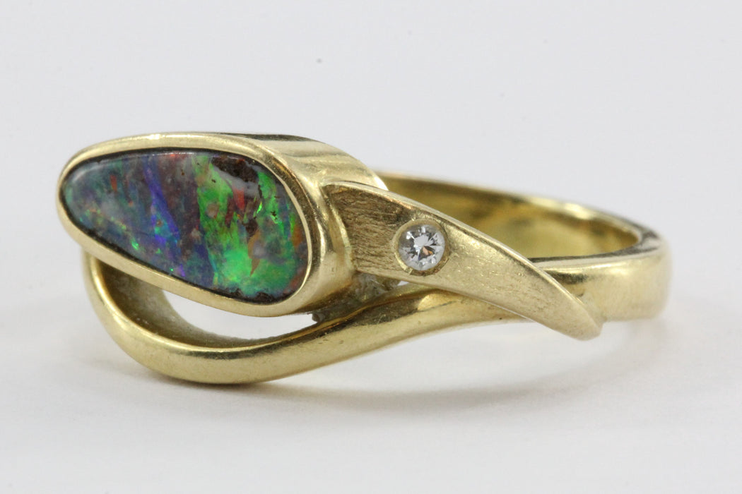 Custom made 18K yellow gold Australian Black Opal Doublet & Diamond Ring - Queen May