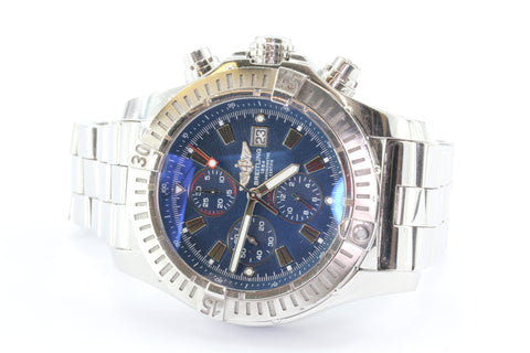 Breitling Super Avenger Chronograph 48 Steel Automatic Watch A13370 Blue