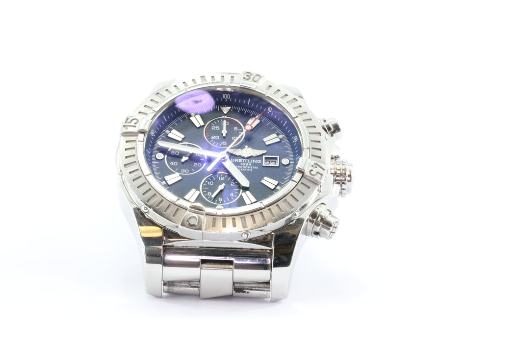 Breitling Super Avenger Chronograph 48 Steel Automatic Watch A13370 Blue - Queen May